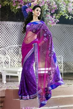 Symmetrical Lavender purple and pink attractive saree
