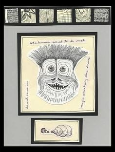 Untitled Portrait - Pen Drawing, Text: animals, monsters, creatures, abstract, mixed media, words.
