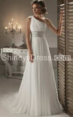 One Shoulder Bridal Gown With Craystal Embellishment Girdling