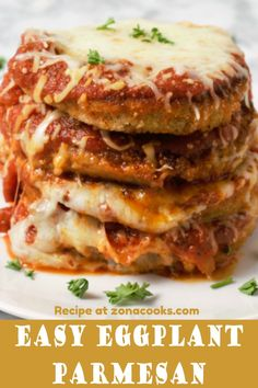 Easy Eggplant Parmesan - Easy Eggplant Parmesan has crispy double breaded eggplant that is fried and baked topped with spagh - Vegetarian Recipes, Cooking Recipes, Healthy Recipes, Batch Cooking, Healthy Meals, Easy Recipes, Healthy Eating, Eggplant Dishes, Spaghetti Sauce