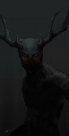 hyrenee:  finished wendigo painting … it's a little dark because i'm shit at original details, and it doesn't look exactly like the one in h...