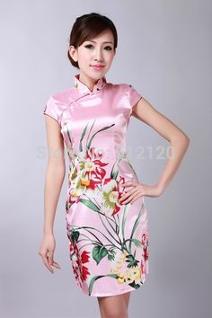 Free Shipping new arrival Vintage dress Chinese Women's Silk Rayou Cheongsam Mini Qipao Dress Flower Dresses 2 color D0181
