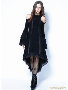 8e8bf4f3cbfed Black Gothic Tail Sexy Dress with Big Trumpet Sleeves