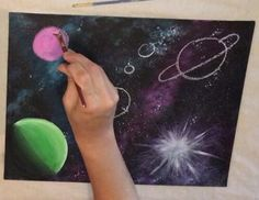 Galaxy Part Two Planets Tutorial - Step By Step Painting - Karen Carney - Galaxy. - Anora Medland - Space Everything Galaxy Painting Acrylic, Watercolor Galaxy, Diy Galaxy, Galaxy Art, Acrylic Painting Tutorials, Diy Painting, Planet Painting, Night Sky Painting, Space Painting