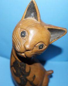 CHRISTMAS Kitty Carved Teak Wood Cat Figurine Sculpture Thailand vintage 50's   eBay