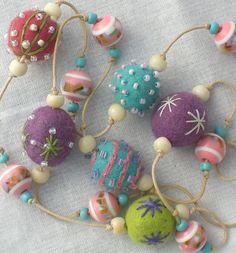 Anjie's embroidered felt bead necklace. Bobbin & Bodkin Creative Workshops