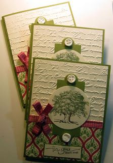 Crafty Maria's Stamping World: Lovely as a Tree - Swap cards ~I like the tree presented on the circle~Deb~