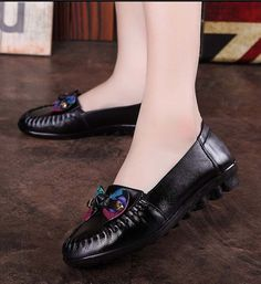 Women's #black leather shoe loafer #SlipOn style butterfly decorated on vamp, Round toe, leather upper and lining.