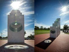 Interesting Monument- Once a Year at 11:11 am the Sun Shines Perfectly on this Memorial At precisely 11:11 a.m. each Veterans Day (Nov. 11), the sun's rays pass through the ellipses of the five Armed Services pillars to form a perfect solar spotlight over a mosaic of The Great Seal of the United States.