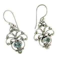 Drop earrings with Blue Topaz oval gems Silver 925