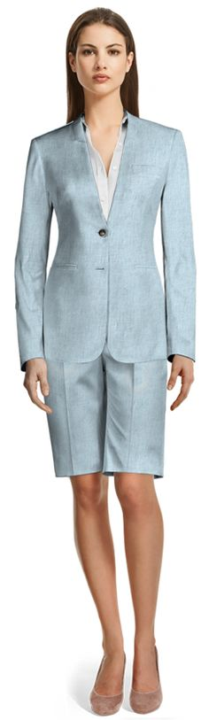 Bermuda suits will keep you cool in the warmest temperatures! Made to fit your measurements Light Blue Suit, Tailor Made Suits, Beige Shorts, Suit Fabric, Short Suit, Summer Wardrobe, Suits For Women, Bermuda Shorts, Shirt Dress