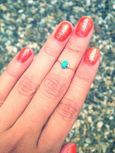 Gold Dainty Adjustable Knuckle Ring Mid Ring w/ Turquoise Bead