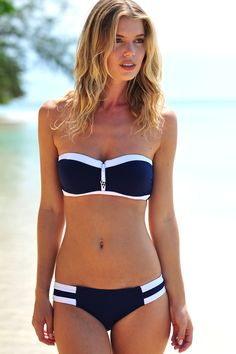 Navy and white bikini by Seafolly with cheeky zip detail