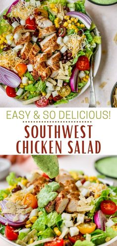 This Southwest Salad is a fresh and colorful combination of seasoned chicken, veggies, beans, jicama, cheese and tortilla strips, all tossed in the most delicious avocado dressing. From the zesty spices, to the best toppings, this Southwest-inspired recipe has it all, even the tortilla crunch! Healthy Mexican Recipes, Heart Healthy Recipes, Easy Salads, Healthy Salad Recipes, Southwest Salad Dressings, Southwest Salad Recipe, Baked Chicken, Chicken Recipes, Southwest Chicken
