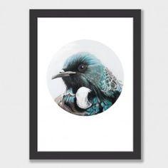 """Aubrey"" Tui Circle Art Print by Margaret Petchell NZ Art Prints, Design Prints, Posters & NZ Design Gifts | endemicworld"