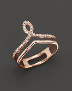 Diamond Midi Ring in 14K Rose Gold, .13 ct. t.w. | Bloomingdale's Diamond Jewelry, Rose Gold Jewelry, Diamond Rings, Rose Gold Engagement Ring, Vintage Engagement Rings, Wedding Engagement, Fine Jewelry, Jewelry Rings, Jewelry Accessories