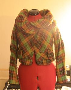 """Lilith Wool Plaid Puffy Collared Jacket. $200.00, via Etsy.  bust 30"""""""