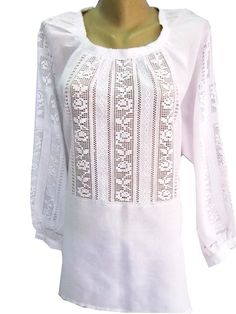 Женская вышиванка белая по белому Folk Fashion, Diy Fashion, Filet Crochet, Crochet Lace, Afghan Dresses, Embroidered Clothes, Hand Embroidery Stitches, Heirloom Sewing, Kurta Designs