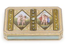 A GERMAN GOLD, ENAMEL AND GEM-SET SNUFF BOX, MAKER'S MARK L&S, PROBABLY HANAU, CIRCA 1810 rectangular with cut corners, the cover with panels of dancing cupids surrounded by champlevé turquoise and white enamel, and panels of filigree set with rose diamonds and split pearls marked inside cover and base, the rim stamped SB 28 length 3 3/8 in. 8.7cm