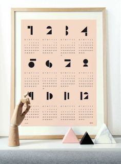 2017 wall calendar from Snug Studio. Available in White, Blue, Pink or Light Grey. Modern, geometric design presents entire calendar year at a glance. Printed on matte paper in format. Font Design, Deco Design, Typography Design, Layout Design, Studio Design, Diy Kalender, Kalender Design, Snug Studio, Design Online Shop