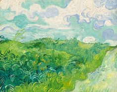 Vincent van Gogh's 'Green Wheat Fields, Auvers', This painting has been held privately for over 50 years and not seen in public since The Mellon family is donating it to the National Gallery in Washington. Art Van, Van Gogh Art, Vincent Van Gogh, Van Gogh Paintings, Green Paintings, Wheat Fields, National Gallery Of Art, Post Impressionism, Art And Illustration