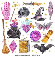 """sosuperawesome: """"Watercolor Patterns by Abra Cadabraaa on """" Watercolor Patterns, Halloween Illustration, Illustration Art, Desenhos Halloween, Witch Symbols, Doodles, Desenho Tattoo, Witch Art, Witch Aesthetic"""