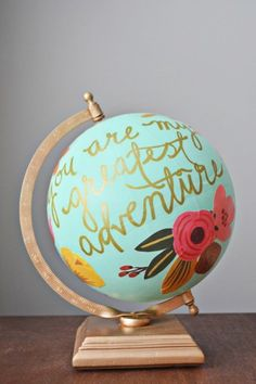 Anthropologie Inspired DIY Home Decor Hacks - Painted Furniture Ideas Home Decor Hacks, Diy Home Decor Projects, Globe Projects, Nursery Themes, Nursery Decor, Themed Nursery, Nursery Ideas, Room Ideas, Floral Quotes