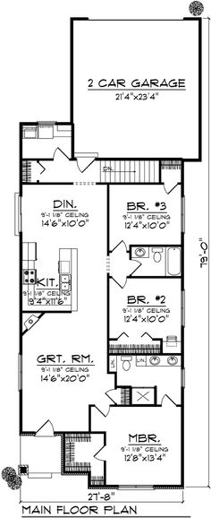 First Floor Plan of Ranch   House Plan 72981