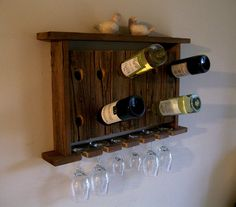 Wine Rack Wine Glass Holder Wall Shelf Riddling Rack Rustic Reclaimed Barn Wood. $79.00, via Etsy.