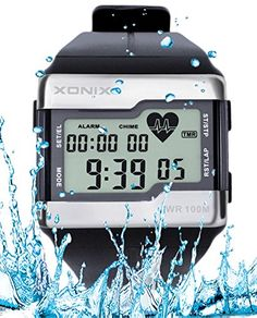 Heart Rate Monitor Men Sports Health Fitness Calories Watch 100 Meters Diving Waterproof Digital Watches * You can find more details by visiting the image link.Note:It is affiliate link to Amazon.