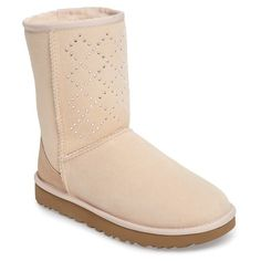 Women's Ugg Classic Short - Crystal Genuine Shearling Lined Boot ($265) ❤ liked on Polyvore featuring shoes, boots, ankle booties, freshwater pearl suede, short boots, shearling-lined boots, ugg boots, crystal boots and short booties