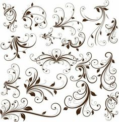 Collection of beautiful vector floral swirls and decorations. Free Vector Art, Art Design, Design Elements, Swirl Design, Tree Tattoo Designs, Tattoo Ideas, Tattoo Tree, Swirl Tattoo, Vignettes