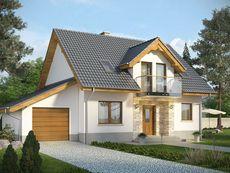 KOLIA - projekt domu z otwartą kuchnią i garażem z jednospadowym dachem. Studio Krajobrazy.