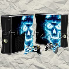 Skull Face XBOX 360 Skin Set - Console with 2 Controllers