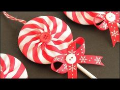 Learn how to make these fabric yoyo lollipop Christmas ornaments! Including how to make a double sided yo-yo using striped fabric to make a pinwheel pattern in the finished yo-yo's. Make these in a variety of striped patterns for all kinds of different lo. Christmas, Fabric, Ornament, Christmas, #YoYo's