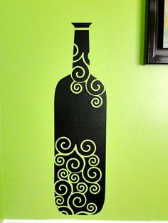 Wine bottle vinyl decal - Etsy
