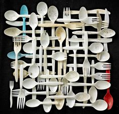 """expecttheunexpectedtodayPlastic Forks, Knives and Spoons / """"Found in Nature"""" Series / collected from """"Floyd Bennett Field"""" campground in Brooklyn, New York / by New York-based award winning photographer and assemblage artist Barry Rosenthal Cutlery Art, Flatware, Things Organized Neatly, Art Projects, Projects To Try, Trash Art, Plastic Art, Plastic Forks, Plastic Design"""