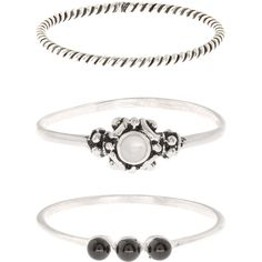 Accessorize Sterling Silver 3 X Ethnic Stacking Ring Set ($33) ❤ liked on Polyvore featuring jewelry, rings, beaded jewelry, sterling silver rings, bead jewellery, sterling silver jewellery and beading jewelry