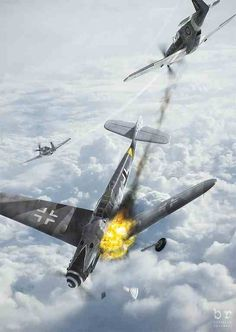 An idea for the tattoo that I will get as part of a dogfight scene to contrast my wife's Spitfire tattoo. Her spitfire represents our son's obsession with Spitfires