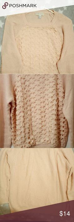 Forever 21 plus size crochet-paneled sweater Plus size sweater. Comfy with cute front design. Cream/light pink color. Used but good condition. Comes from a non-smoking home. Forever 21 plus Sweaters