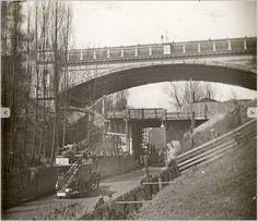 The demolition of the old Archway Bridge around The new bridge is already in place. Camden London, Old London, North London, East London, London History, Local History, Archway London, London Life, Old Photos