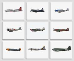 Title: Set of 9 Vintage WWII Airplanes Stretched Canvas prints choose from 3 colored backgrounds Vintage Grey, Vintage Brown or Vintage Sky 1. Vintage WWII P51 Mustang 2. Vintage WWII F4 Corsair 3. Vintage WWII BF 109 4. Vintage WWII Japanese Zero Fighter 5. Vintage WWII 509 Spitfire 6. Vintage Airplane Bedroom, Airplane Wall Art, Boys Room Decor, Nursery Decor, Vintage Sports Nursery, Minimalist Home Decor, Minimalist Room, Home Designer, Background Vintage