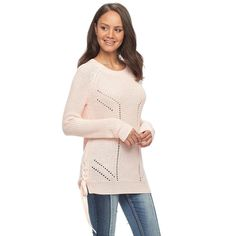 Juniors' SO® Lace-Up Tunic Sweater, Teens, Size: Medium, Pink Other