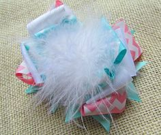 Girls/Baby Hair Bow, Pink Chevron, Aqua, and White with Feathers Over the Top Boutique Bow