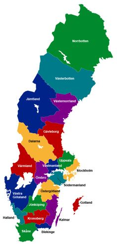 Karta över Sveriges Län Learn Swedish, Swedish Language, About Sweden, Scandinavian Folk Art, Sweden Travel, Science And Nature, Family History, Social Studies, Good To Know