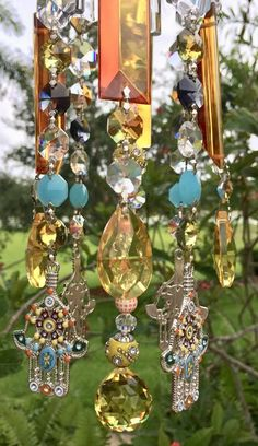 Crystal Windchime Hamsa Hand Meditation Wind Chime