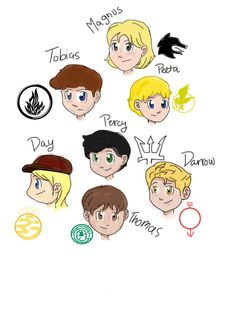 """Top to bottom, L to R: Magnus Chase """"Magnus Chase and the Gods of Asgard"""",  Tobias Eaton """"Divergent"""", Peeta Mellark """"Hunger Games"""", Percy Jackson """"Percy Jackson and the Olympians"""", Day Wing """"Legend"""", Thomas """"Maze Runner"""", Darrow """"Red Rising"""". #magnuschase #divergent #hungergames #percyjackson #legendmarielu #mazerunner #redrising #fandomsunite"""