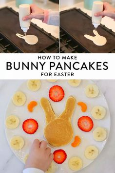 Make Bunny Pancakes for Easter! This spring idea is perfect for Easter breakfast or brunch, and a guaranteed kid (and grownup) pleaser. Click to see the three tricks that make bunny pancakes totally simple (and totally delicious). Toddler Meals, Kids Meals, No Egg Pancakes, Easy Meal Prep, Easter Crafts, Easter Eggs, Good Food, Brunch, Snacks