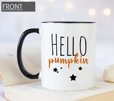 Hello pumpkin coffee mug with stars, personalized gift for Halloween and Thanksgiving, all those pumpkin lovers dream of this mug! Handmade Design, Mug Designs, White Ceramics, Personalized Gifts, Print Design, Coffee Mugs, Just For You, Thanksgiving, Pumpkin