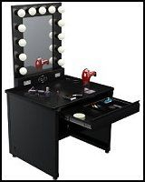 lighted broadway table is an all-inclusive glamor creation station! With 13 large professional quality dimming light bulbs and an easily accessible power outlet, this self-supporting mirror system creates the perfect atmosphere for flawless make up application